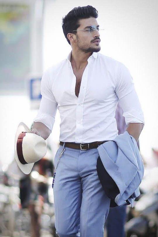 męska biała koszula
