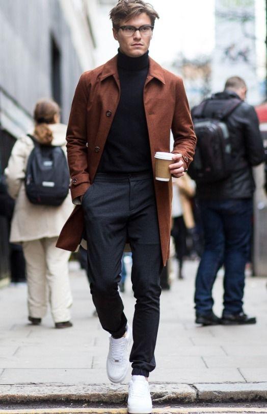męski brązowy płaszcz