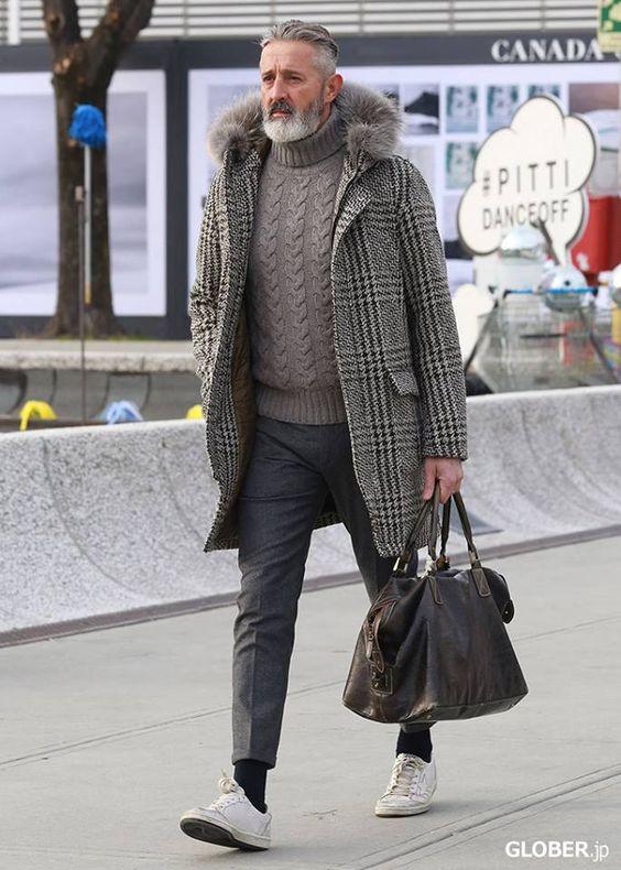 sweter w męskiej zimowej stylizacji