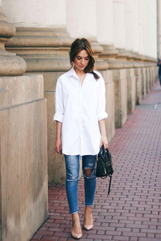 biała koszula oversize w damskiej garderobie