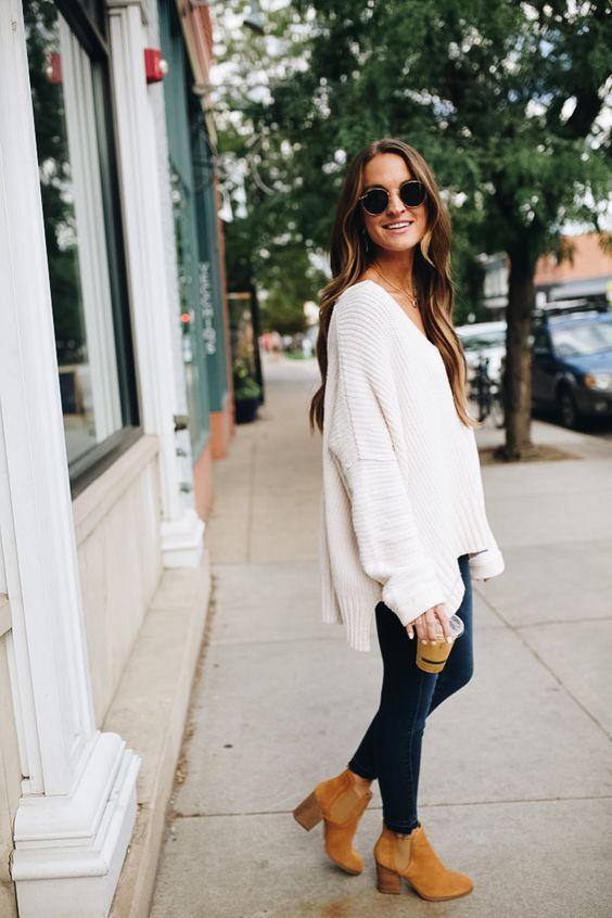 ciepły sweter stylizacja damska jesienna